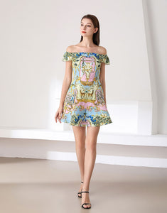 Deer in the woodland pastel bardot skater dress