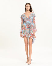 Load image into Gallery viewer, Light blue multi tile patterned mini dress with cut out shoulder.