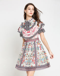 Floral pleated carousel mini dress