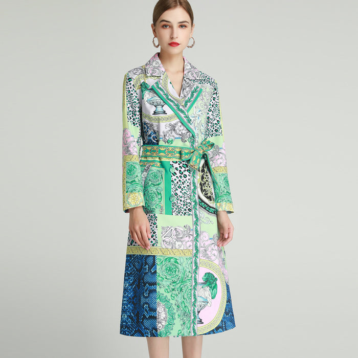 Jade mix print patchwork overcoat