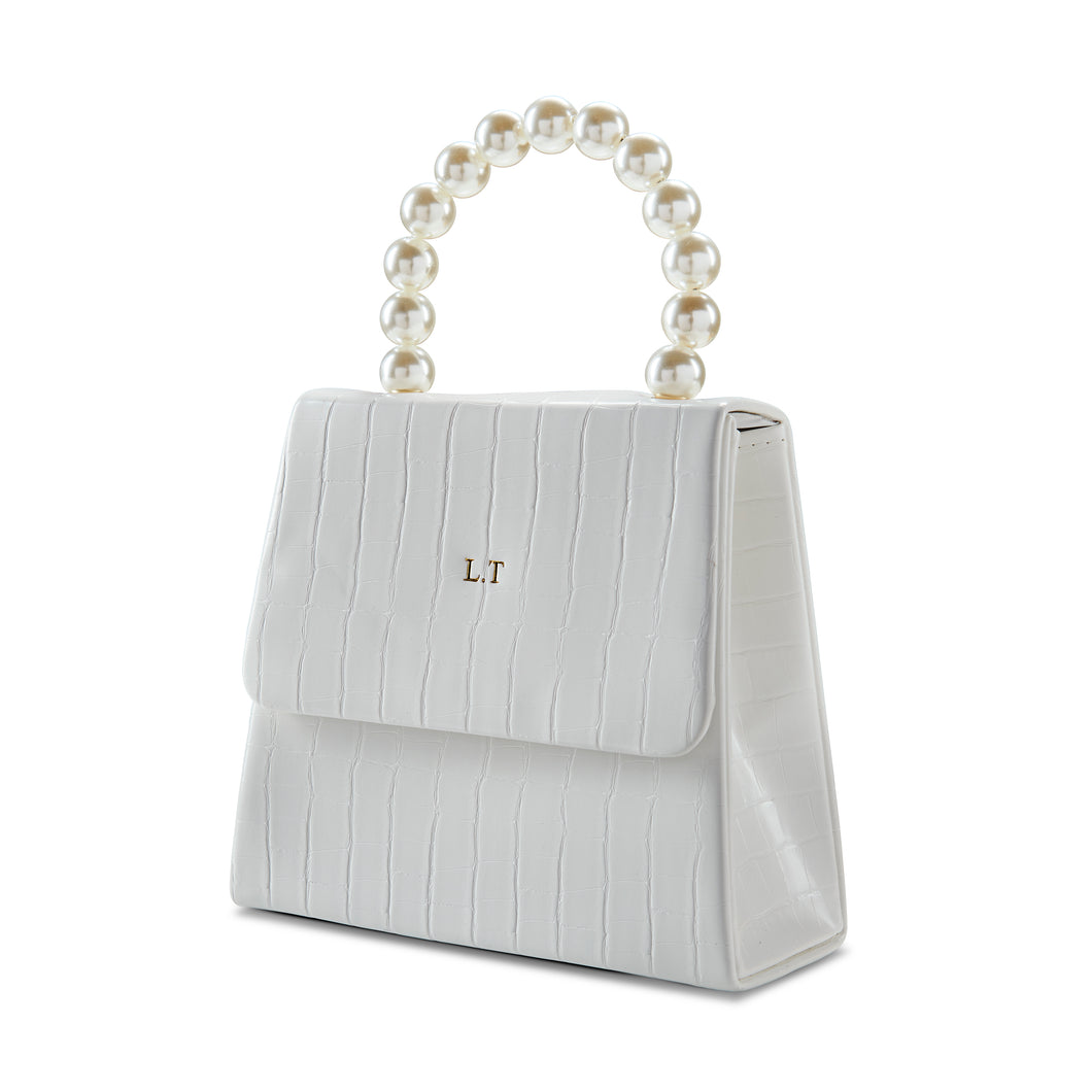 White Pearl Drop Handbag THREESIXFIVE