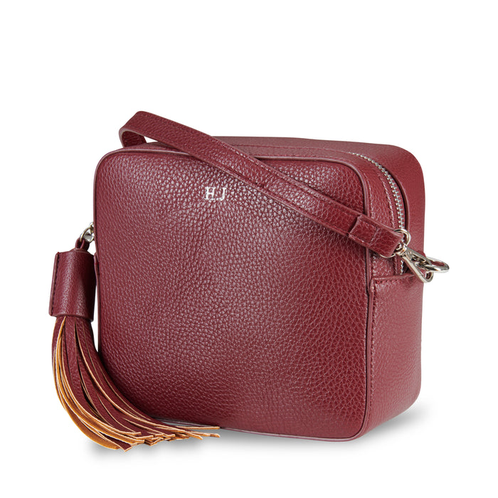 Maroon Vegan Leather Cross Body Bag ThreeSixFive