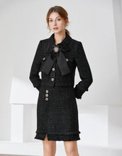 Load image into Gallery viewer, Black tweed two piece with bow and brooch