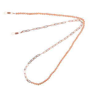 50/50 Freshwater PINK Pearl Rose Gold Twist Sunglass Chain TC