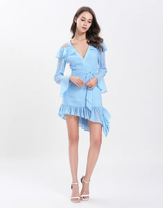 Dotty baby blue cut out shoulder gathered hem mini dress