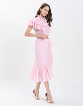Load image into Gallery viewer, Dotty Candy Pink Ruffle crop top with Dip Hem skirt set