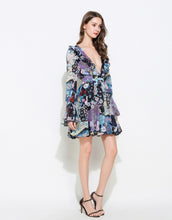 Load image into Gallery viewer, Blue Kaleidoscope plunge mini dress with bell sleeves *WAS £155*