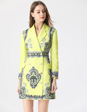 Load image into Gallery viewer, Fluorescent Yellow Blazer Dress