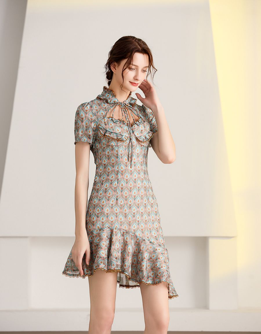 Flowerdrop asymmetric mini dress