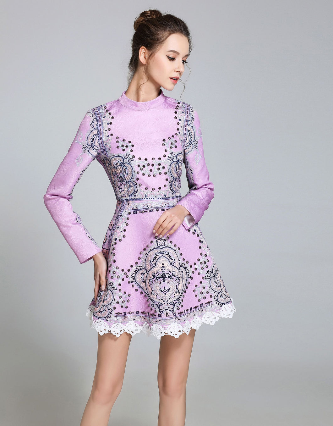 Lilac embellished Vintage Skater dress