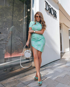 Mint Gathered Mini Dress