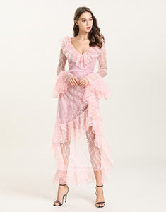 Baby Pink Sheer Lace ruffle maxi dress