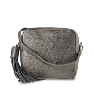 New AW20! Gunmetal Grey Vegan Leather Cross Body Bag ThreeSixFive