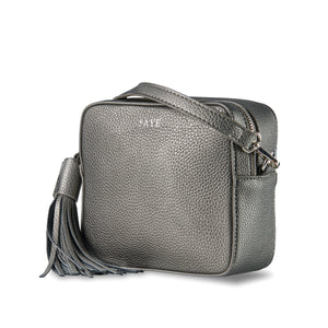 Gunmetal Grey Vegan Leather Cross Body Bag ThreeSixFive
