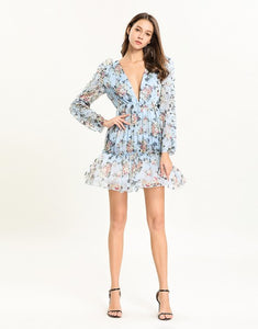 Light blue Floral Deep V plunge tiered dress