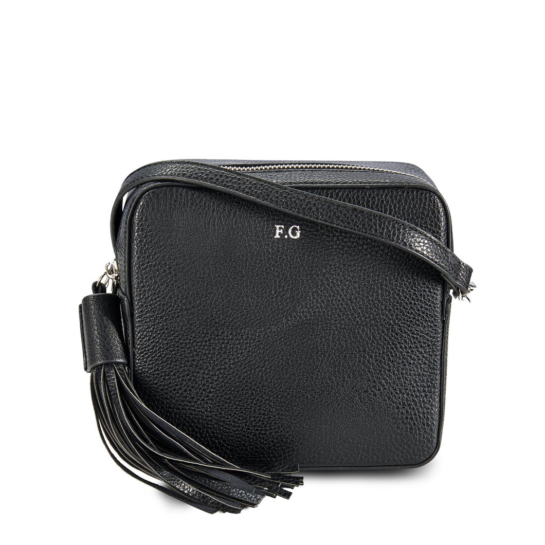 Black Vegan Leather Cross Body Bag THREESIXFIVE