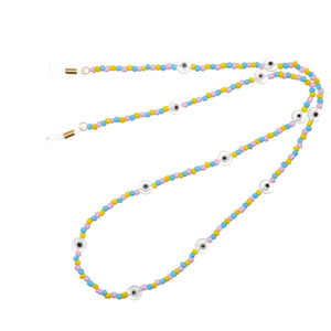 Candyfloss Beaded Sunglass Chain with Glazed Evil Eye Beads