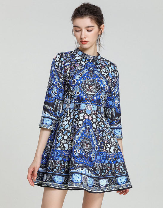 Blue hue folk print skater dress