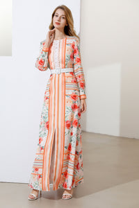 Apricot stripes and roses maxi dress