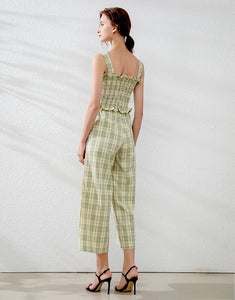 Lemon and Lime Gingham two piece set
