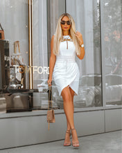 Load image into Gallery viewer, Comino Couture White Wrap Dress with Dragonfly Details *WAS £155*