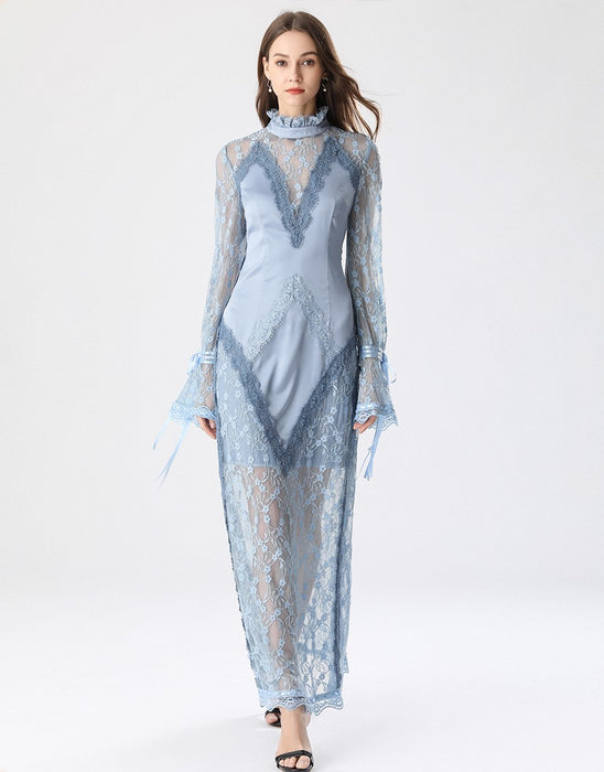 Elegant Light blue lace slip maxi dress