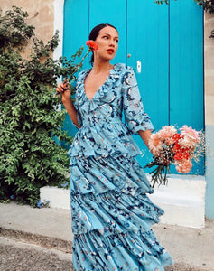 Blue Floral v neck long sleeved Tiered ruffle maxi dress