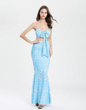 Load image into Gallery viewer, Multiway White and blue tiled crop top and maxi skirt