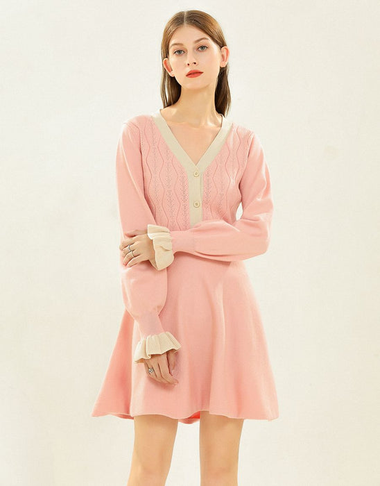 Pretty in Pink long sleeved knitted dress