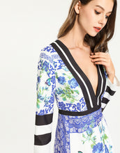 Load image into Gallery viewer, Blue Grecian floral tile deep V plunge peplum dress * WAS £150*