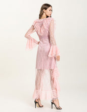 Load image into Gallery viewer, Baby Pink Sheer Lace ruffle maxi dress