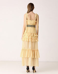 Mellow In Yellow Dotty Tiered Dress *WAS £145*