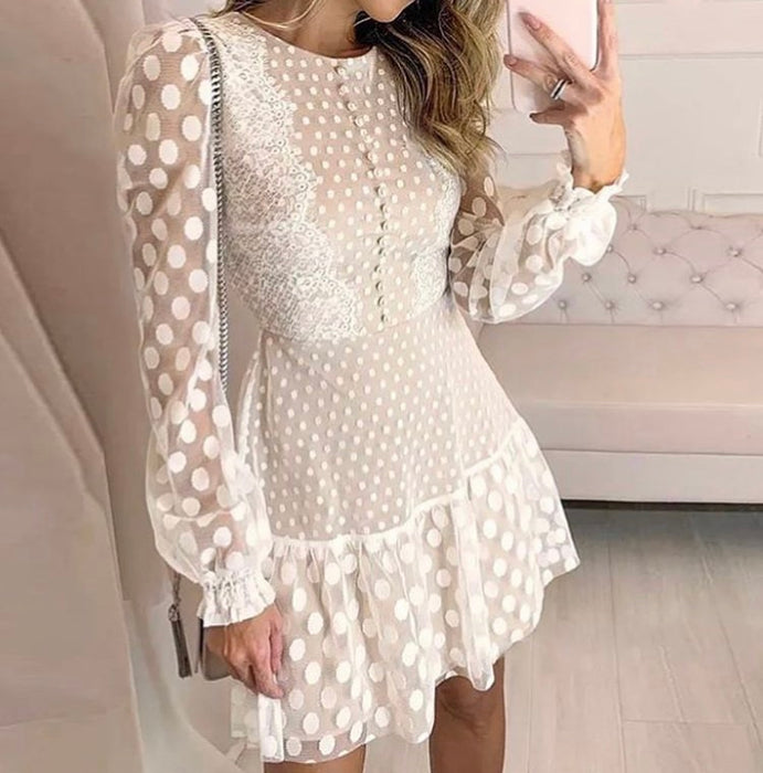 White Sheer Spotty Mini Dress