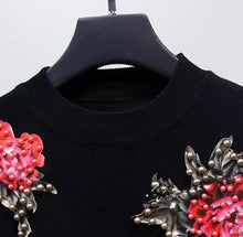 Load image into Gallery viewer, Red Carnation flower black knitted set