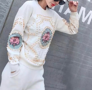 Rose Motif White Knitted Set