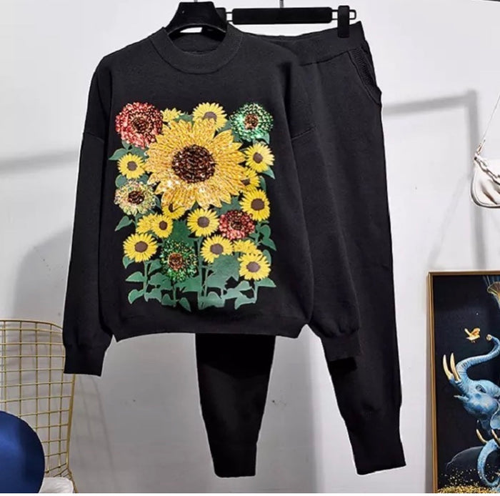 'You're a sunflower' black knitted set