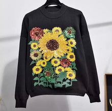 Load image into Gallery viewer, 'You're a sunflower' black knitted set