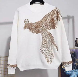 Gold Flying Phoenix  white knitted set
