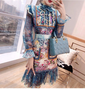 Floral Tapestry lace mini dress