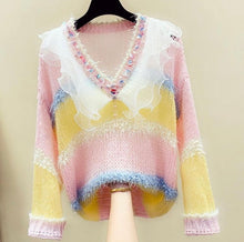 Load image into Gallery viewer, Striped Pastel Jumper with sheer frill