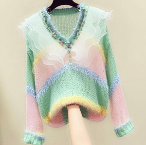 Striped Pastel Jumper with sheer frill