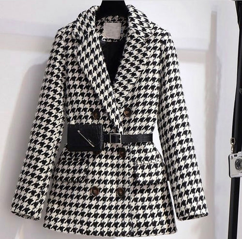 Houndstooth woollen coat the waist belt bag