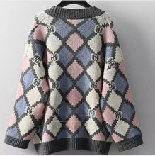 Load image into Gallery viewer, Diamond patchwork knitted cardigan with buttons