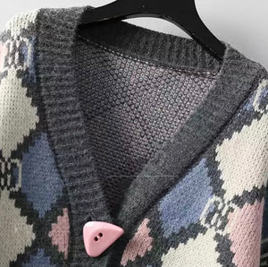 Diamond patchwork knitted cardigan with buttons