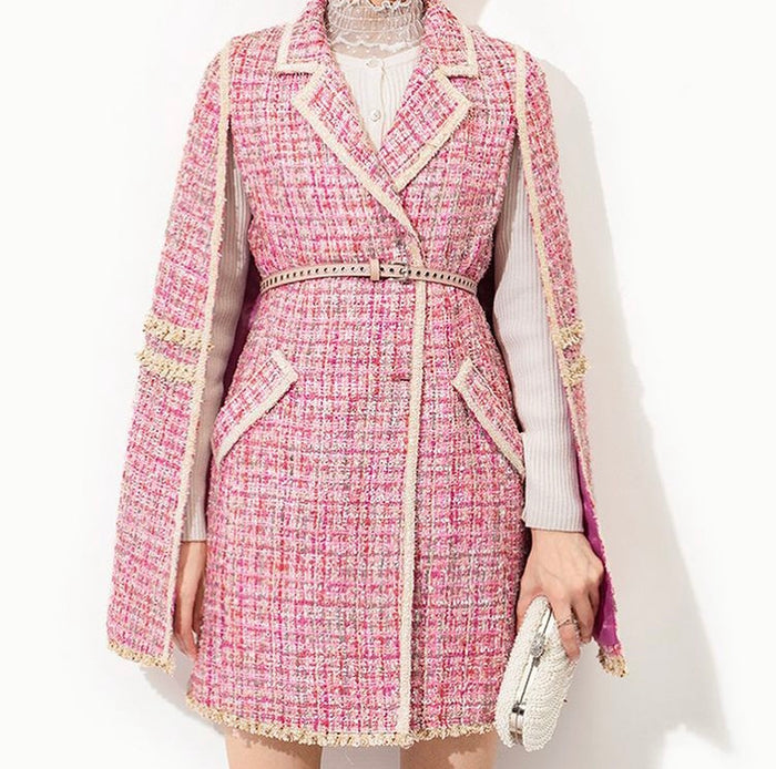 Batwing Pink Tweed Mini Dress