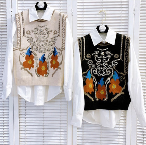 The bejewelled vest with white shirt