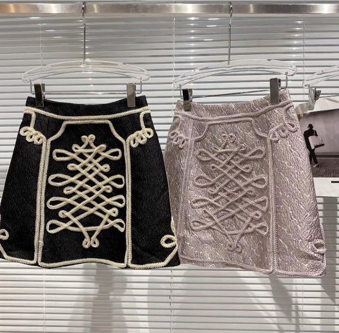 Military style embossed skirt