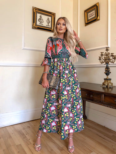 Green / Multi Print Flamingo Maxi Dress *WAS £135*