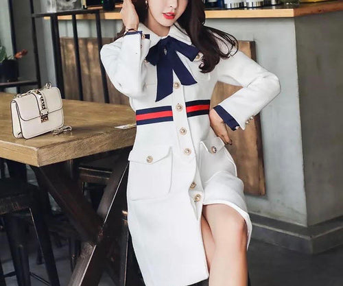 White Military Coat with bow