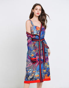 Birds in Paradise two- piece midi dress